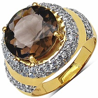 6.37 Grams Smoky Topaz & White Cubic Zirconia Gold Plated Br