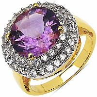 6.43 Grams Amethyst & White Cubic Zirconia Gold Plated Brass