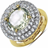5.80 Grams Green Amethyst & White Cubic Zirconia Gold Plated