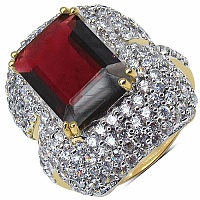 7.50 Grams Garnet & White Cubic Zirconia Gold Plated Brass R