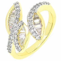3.50 Grams White Cubic Zircon Gold Plated Brass Ring