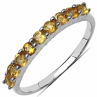 0.70CTW Genuine Citrine .925 Sterling Silver 9 Stone Ring