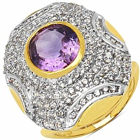 7.30 Grams Amethyst & White Cubic Zirconia Gold Plated Brass