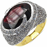10.70 Grams Garnet & White Cubic Zirconia Gold Plated Brass