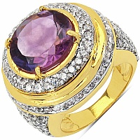 9.80 Grams Amethyst & White Cubic Zirconia Gold Plated Brass