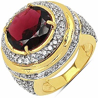 10.10 Grams Garnet & White Cubic Zirconia Gold Plated Brass