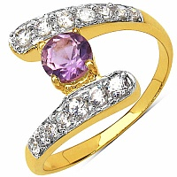 1.80 Grams Amethyst & White Cubic Zirconia Gold Plated Brass