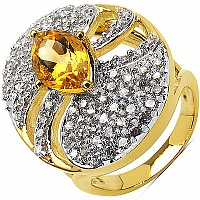 6.90 Grams Citrine & White Cubic Zirconia Gold Plated Brass