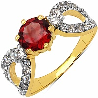 2.60 Grams Garnet & White Cubic Zirconia Gold Plated Brass R