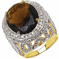 14.30 Grams Brown Glass & White Cubic Zirconia Gold Plated B