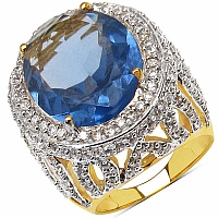 13.80 Grams Violet Glass & White Cubic Zirconia Gold Plated