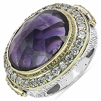 14.30 Grams Purple Glass & White Cubic Zircon Silver & Brass Ri