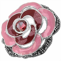 9.80 Grams Garnet & Marcasite .925 Sterling Silver Red & Pink E