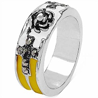 7.20 Grams Marcasite Brass White, Yellow & Black Enamel Ring