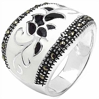10.00 Grams Marcasite Brass White & Black Enamel Ring