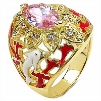7.00 Grams Pink & White Cubic Zirconia Gold Plated Brass Red