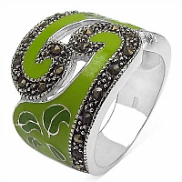 9.20 Grams Marcasite Rhodium Plated Brass Green Enamel Ring