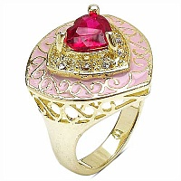 7.40 Grams Red & White Cubic Zirconia Gold Plated Brass Pink