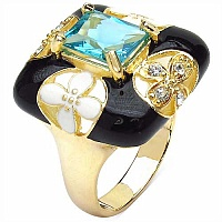 7.10 Grams Blue & White Cubic Zirconia Gold Plated Brass Bla