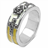 7.40 Grams Marcasite Rhodium Plated Brass White & Black Enam