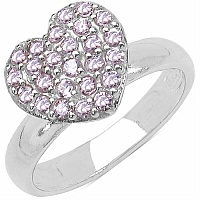 5.20 Grams Pink Cubic Zirconia .925 Sterling Silver Heart Shape