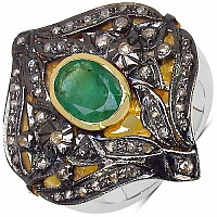 10.40 Grams Genuine Emerald & Diamond Two Tone Plated .925 Ster