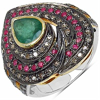 13.40 Grams Genuine Ruby, Emerald & Diamond Two Tone Plated .92