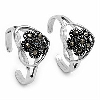 3.20 Grams Marcasite .925 Sterling Silver Toe Rings