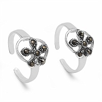 2.70 Grams Marcasite .925 Sterling Silver Toe Rings