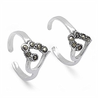 2.50 Grams Marcasite .925 Sterling Silver Toe Rings