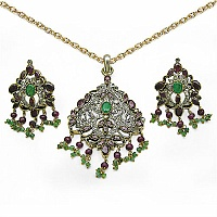 38 Grams Genuine Emerald & Ruby.925 Sterling Silver & Brass Vic
