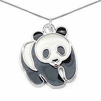 J4K Multicolor Enamel Stainless Steel Panda Shape Charms Pen