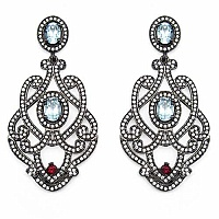 Indian Touch Genuine Blue Topaz, Rhodolite & White Cubic Zir