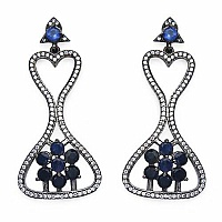 Indian Touch Genuine Iolite & White Cubic Zirconia Black Rho