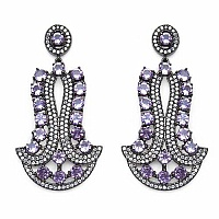 Indian Touch Genuine Amethyst & White Cubic Zirconia Black R