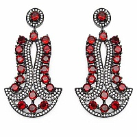 Indian Touch Genuine Garnet & White Cubic Zirconia Black Rho