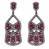 Indian Touch Genuine Ruby & White Cubic Zirconia Black Rhodi