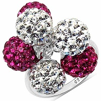 4.36 Grams Pink Crystal & White Crystal .925 Sterling Silver