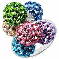 4.20 Grams Multicolor Crystal .925 Sterling Silver Ball Shap