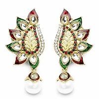 Multicolor Stone Green & Red Enamel Gold Plated Dangle Earri