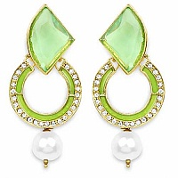 Green Stone, Gold Synthetic Pearl & White Stone Light Green