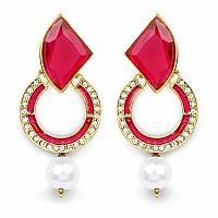 Pink Stone, Gold Synthetic Pearl & White Stone Pink Enamel G