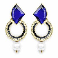 Blue Stone, Gold Synthetic Pearl & White Stone Blue Enamel G