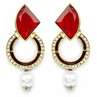 Red Stone, White Synthetic Pearl & White Stone Gold Plated R
