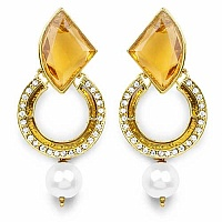 Yellow Stone, White Synthetic Pearl & White Stone Gold Plate