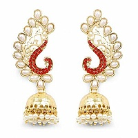 Orange Stone & White Synthetic Pearl Gold Plated Peacock Sha
