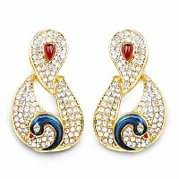 Pink Stone & White Stone Pink & Blue Enamel Gold Plated Peac