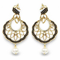 Black Stone, White Synthetic Pearl & White Stone Gold Plated