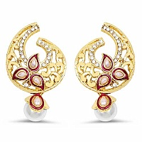 White Synthetic Pearl & White Stone Gold Plated Red Enamel E