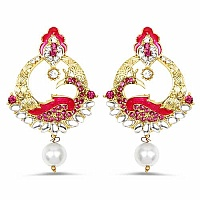 Multistone Gold Plated Pink Enamel Peacock Shape Earrings